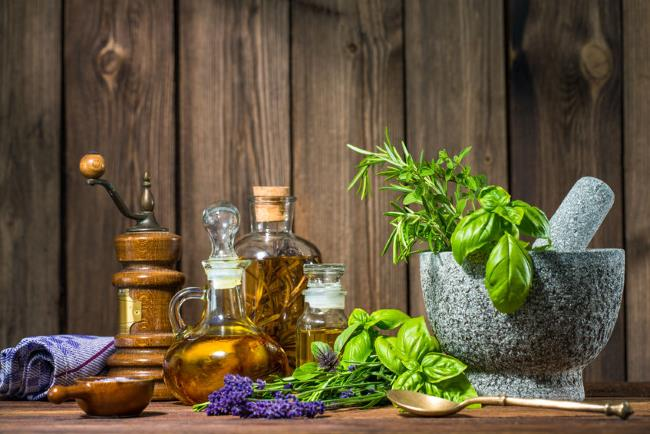 Mortar with herbs and oil